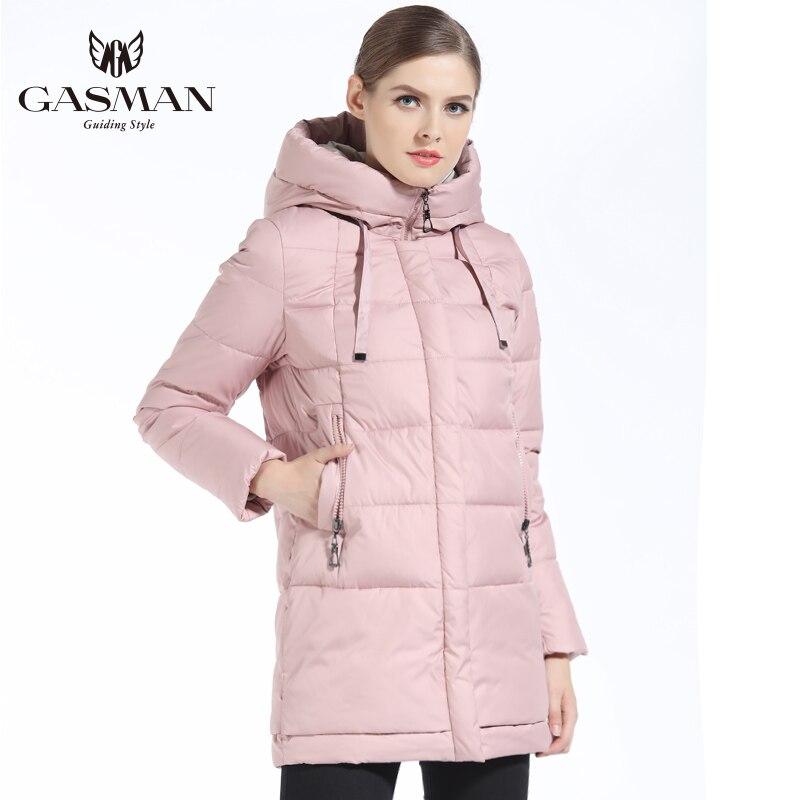 GASMAN 2019 الشتاء المرأة أسفل سترة العلامة التجارية المتوسطة طول الإناث سميكة مقنعين أسفل سترة للنساء معطف الأبيض قماش نسائي الشتاء-في سترات فرائية مقلنسة من ملابس نسائية على  مجموعة 2