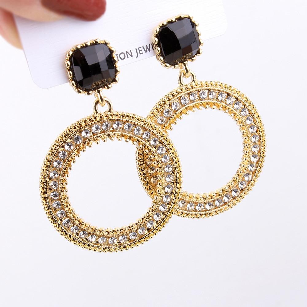 72ddae44a1 US $4.26  FYUAN Vintage Big Round Gold Silver Color Hoop Earrings Boho  Black Stone Crystal Rhinestone Earring for Women Party Jewelry Gift-in Hoop  ...