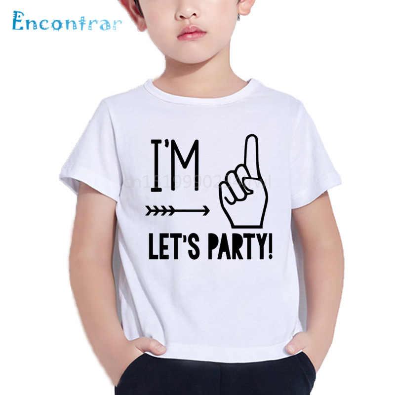 ผม 1/2/3/4/5 Let's Party รูปแบบตลกเด็กเสื้อ T ชาย /หญิงฤดูร้อนเสื้อเด็กวันเกิดหมายเลขพิมพ์เสื้อยืด, ooo5214