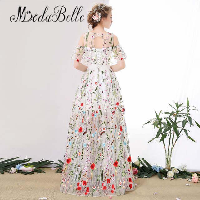b45f3a35b54 placeholder modabelle Tulle White Long Floral Prom Dress Off Shoulder Floor  Length Vestidos De Graduacion Modest Flower
