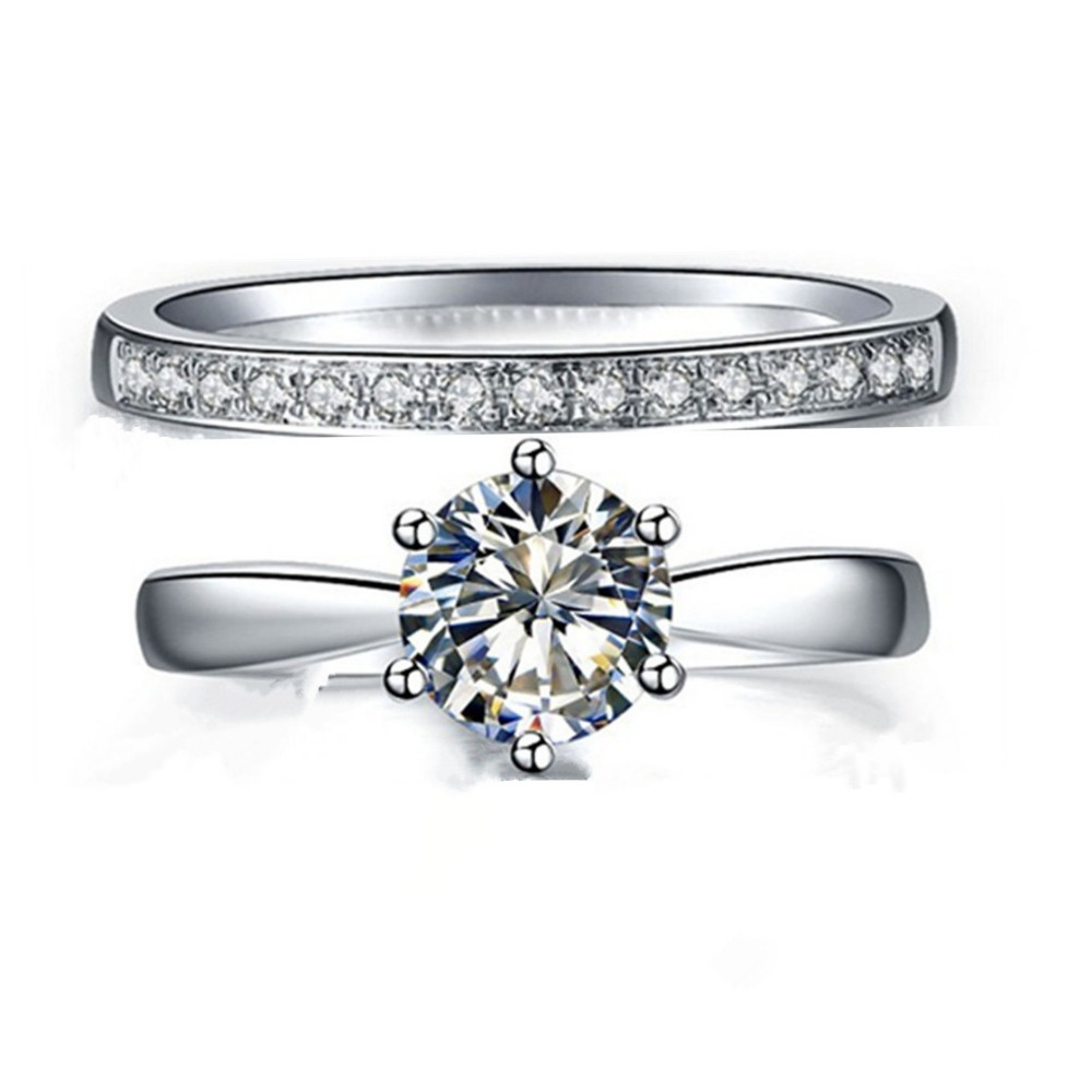 Genuine Silver Engagement Ring 2 5 Carat Jewellery SONA Simulate Diamond Ring Set for Women Sterling