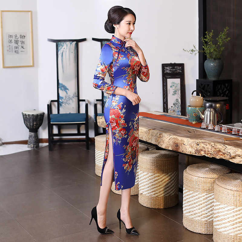 6b5a175fdb New Blue Print Flower Long Sheath Cheongsam Chinese Women Vintage Qipao  Plus Size 3XL 4XL 5XL 6XL Classic Sexy High Split Dress