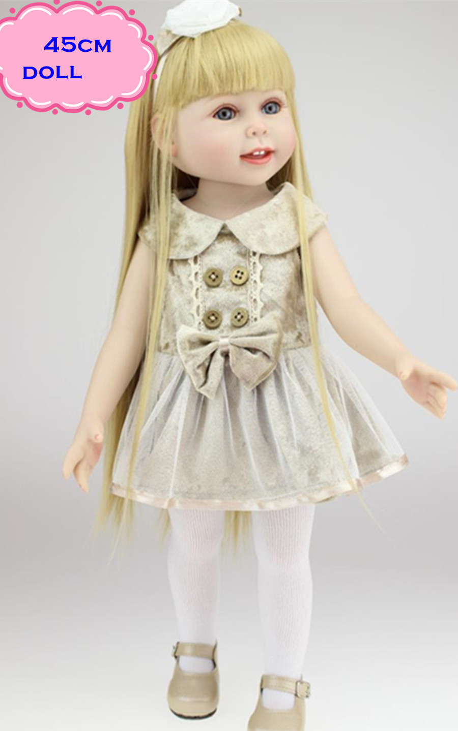 Reborny 45cm NPK American Girl Doll With Delicate Handmade Doll Clothes 18inch Full Vinyl Silicone Baby Dolls Toys For Girls new arrived handmade american 18 inch girl doll vinyl princess smiling girls looks so pretty baby doll toys for children