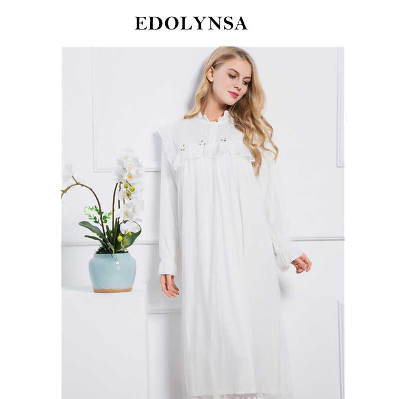 2019 White Sleep Lounge Women Sleepwear Indoor Clothing Long Nightgowns  Sexy Lace Home Dress Vintage Nightdress 82695808c