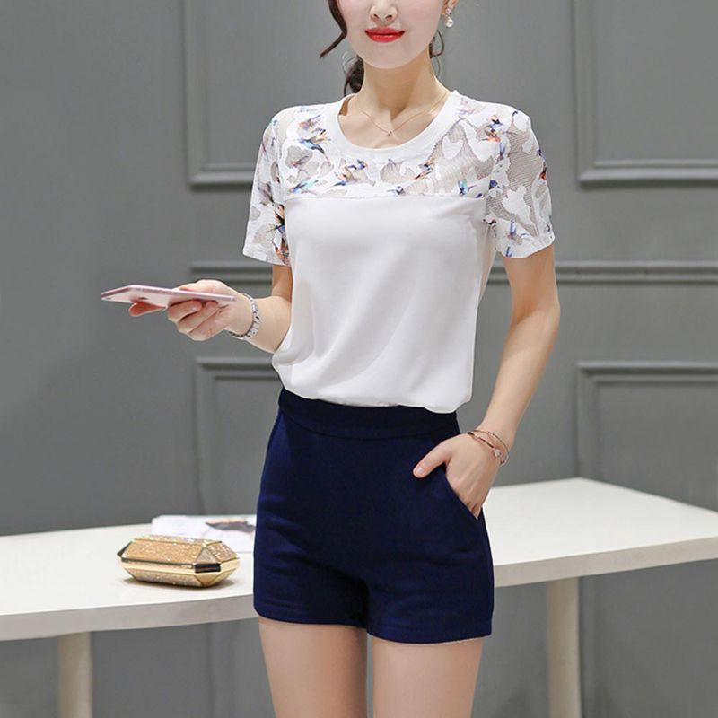 Birds Printed Mesh Blouse Tops Women 2019 Summer Casual White Blouses and Tops Fashion Round Neck Short Sleeve Blouse Shirt