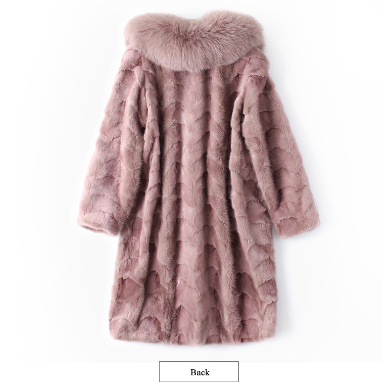 Mink and Fox Fur Coat Natural Fur Mink Coats Real Mink Coat 85CM Pink waistcoat Women`s Winter Genuine Fur Jackets Ship By DHL