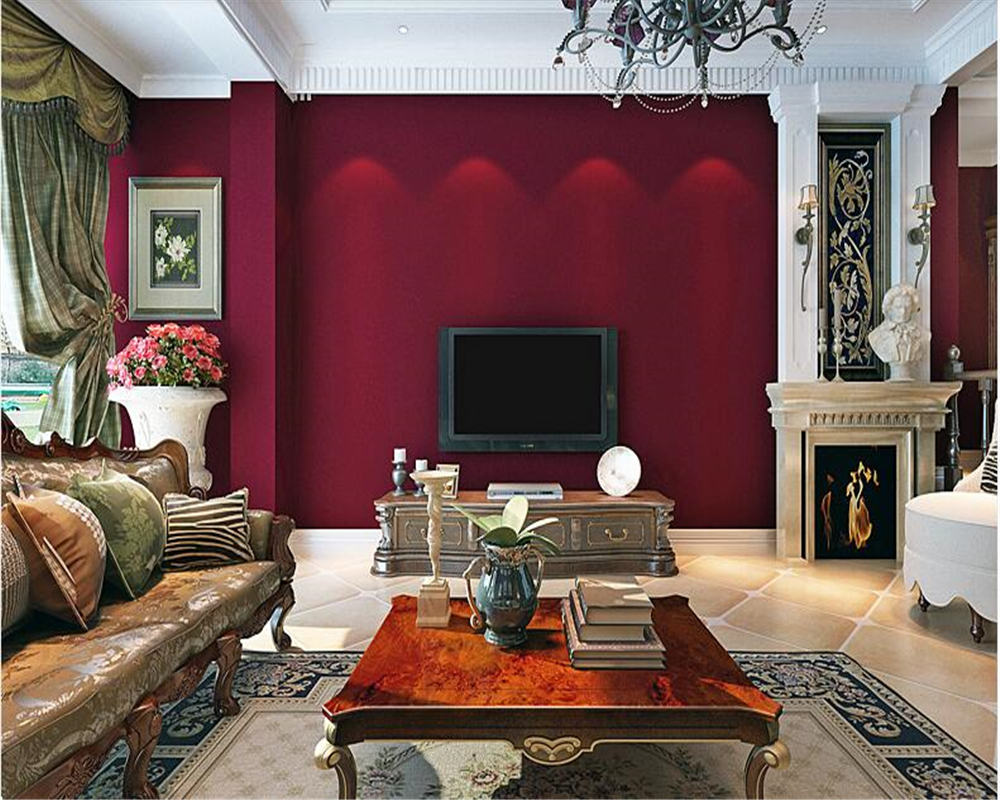Beibehang Vintage American Country Wall Paper Dark Red Solid Color Bedroom Living Room Background Old Plain Non Woven Wallpaper Wallpapers Aliexpress