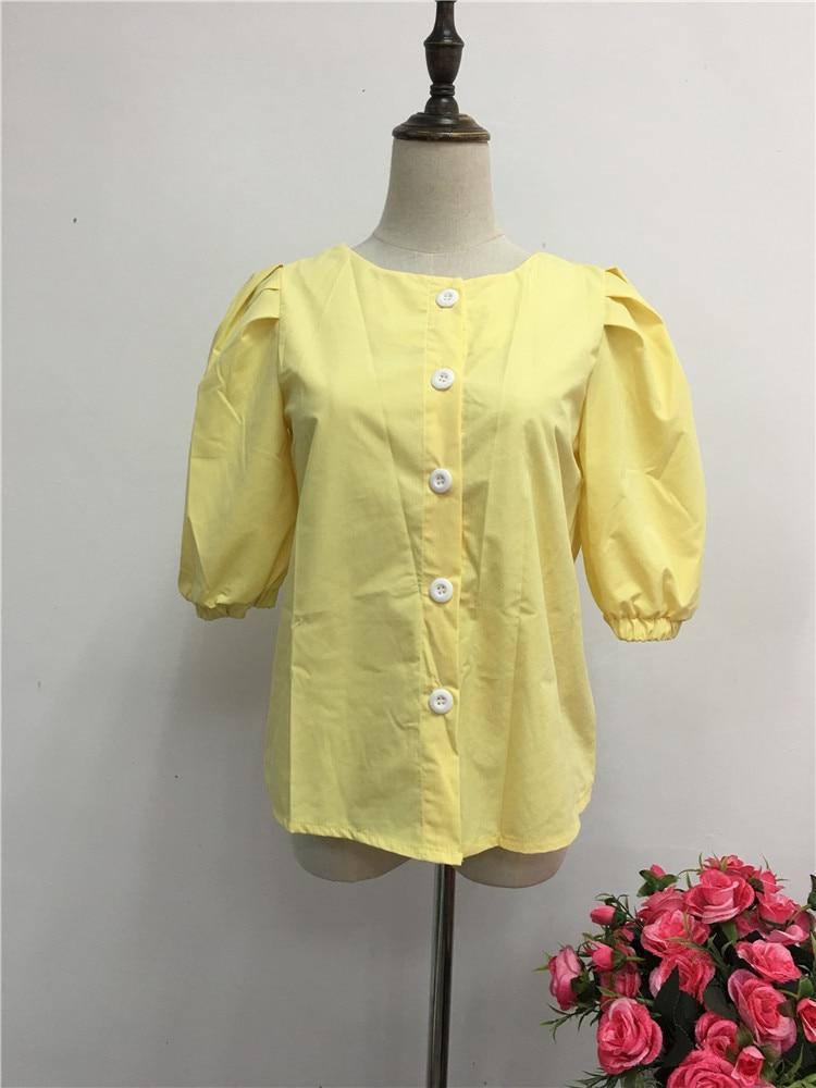 breasted escritório senhoras camisas coreano elegante sopro sleve amarelo topos e blusas
