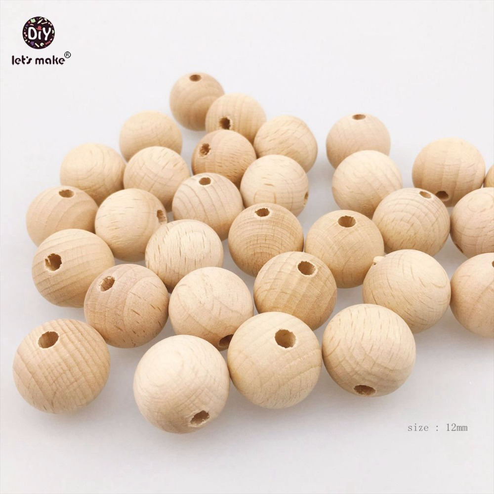 Let's Make Beech Wooden Beads Round Necklace 12mm 500pc Can Chew Unfinished DIY Bracelet Baby Teething Shower Gift Beads