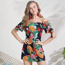 2019 European summer new printing a word of foreign trade brought the dew shoulder loose dress female cross-border exports