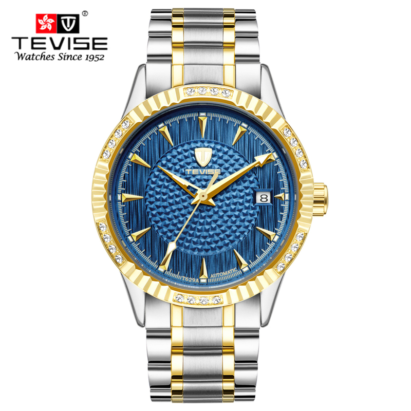 TEVISE Brand Fashion Casual Mechanical watch men luxury brand military wristwatches full steel men watch relogio masculino in Mechanical Watches from Watches