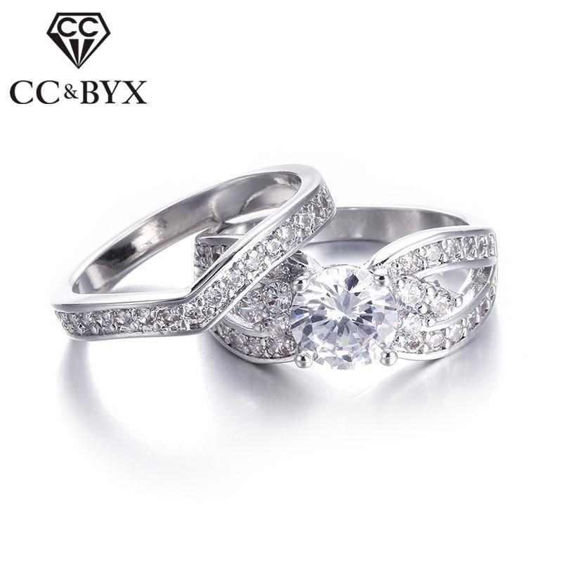 Wide Wedding Ring Set Cubic Zirconia Engagement Rings 2 Pcs Cz Dimond Vintage White Gold Color Engagement Woman Ring Set Cc228 Ring Spinning Ring Boyring Sphere Aliexpress