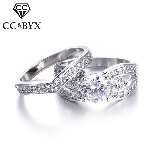 Wide Wedding Ring Set Cubic Zirconia Engagement Rings 2 Pcs CZ