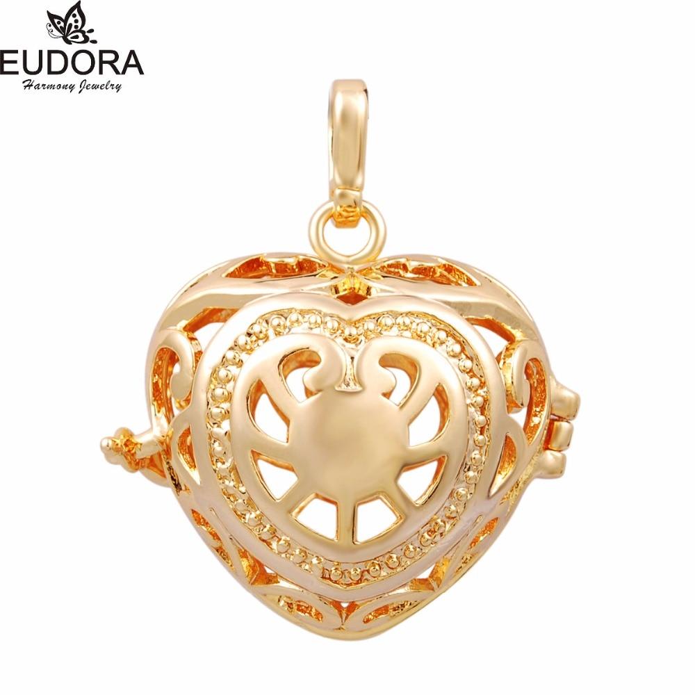Eudora Angel Caller Necklace Antique Copper Gunmetal Plated Lovely Heart Harmony Bola Aromatherapy Locket Pendant Jewelry