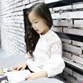 2017 Nuevas Llegadas Niñas Adolescente Niñas Blusas Blancas Camisas Blusas de Primavera Uniforme Escolar camisa 4 5 6 7 8 9 10 11 12 13 14 Años