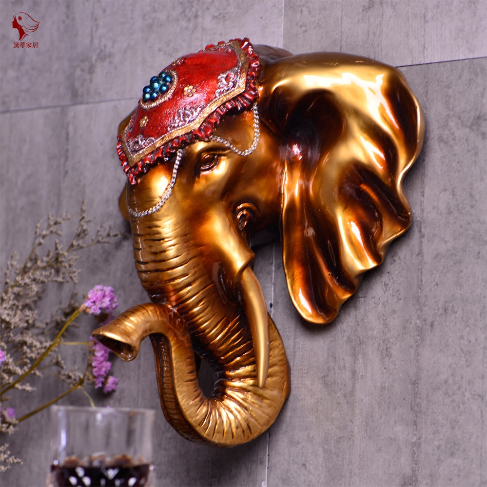Pendentif éléphant salon européen porche tête d'animal tenture murale rétro barre murale décorations murales éléphant tête mur