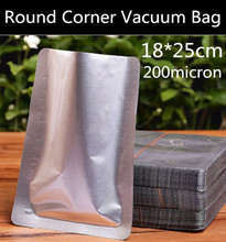 New 100pcs 18cmx25cm (7.1'' * 9.8'') 200micron 3 Sides Round Corner Vacuum Foil Bag Fish/Beef/Cooked Food/Tea/Coffee Beans Bag