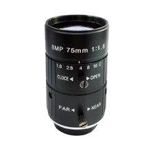 HD 8MP 75mm CCTV Camera C Mount Lens Manual Iris Manual Focus F2.8 Aperture 1″ Image Format Industrial Security Camera Lens
