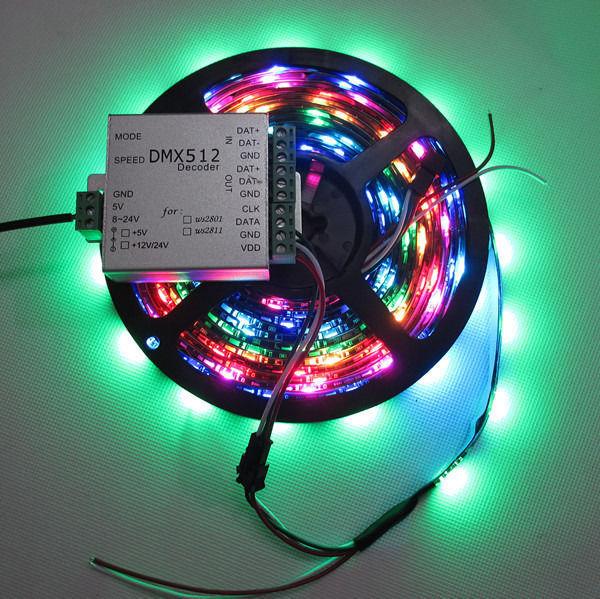 ФОТО 5M Black PCB 30 Pixels/m WS2812B LED Pixel Strip waterproof IP65 DC5V WP & DMX Controller