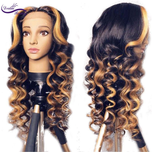 Ombre Highlights color Wavy Remy Brazilian 13x6 Deep Lace front Human Hair Wigs Pre Plucked Natural Hairline wigs Dream Beauty 1