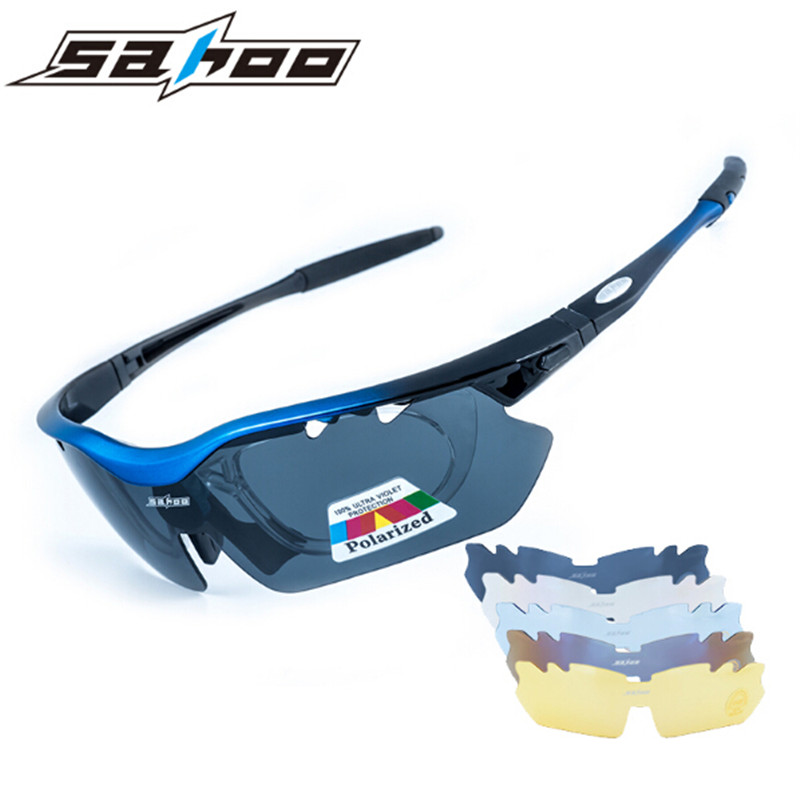 SAHOO Polarized Sports Men Sunglasses Road Cycling Glasses Mountain Bike Bicycle Riding Protection Goggles Eyewear 5 Lens  4 lens ski goggles airsoftsports cycling sunglasses polarized men sport road mtb mountain bike glasses eyewear