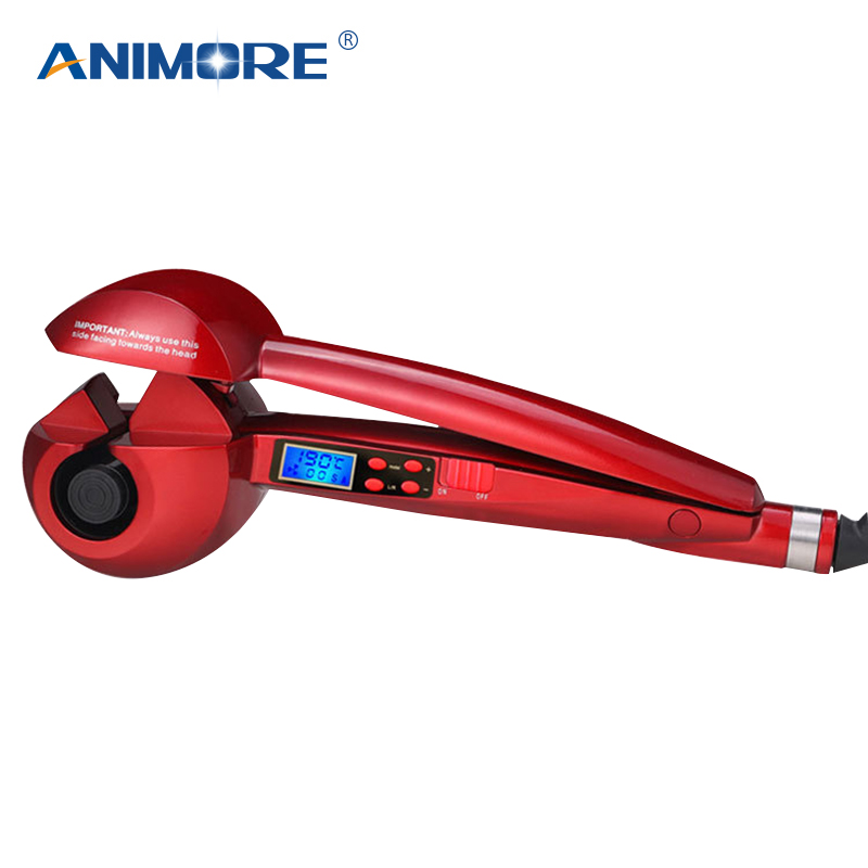 ANIMORE LCD Screen Automatic Curling Iron Heating Hair Care Styling Tools Ceramic Wave Hair Curl Magic Hair Curler CI-01Red