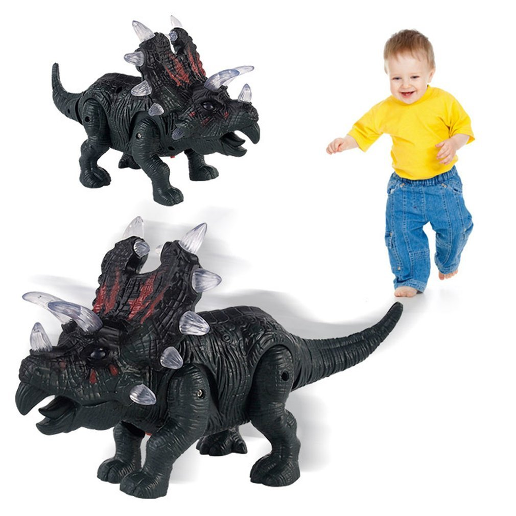 LED Electronic Dinosaur Triceratops Toy Flashing Light+Sound+Walking Imitated Dinosaur Children Toy Christmas Gift Surprise Gift