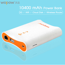 Wopow PG008 Power Bank 10400mAh Wireless WIFI Router PowerBank 18650 Portable charge USB Port External Battery Charger for phone