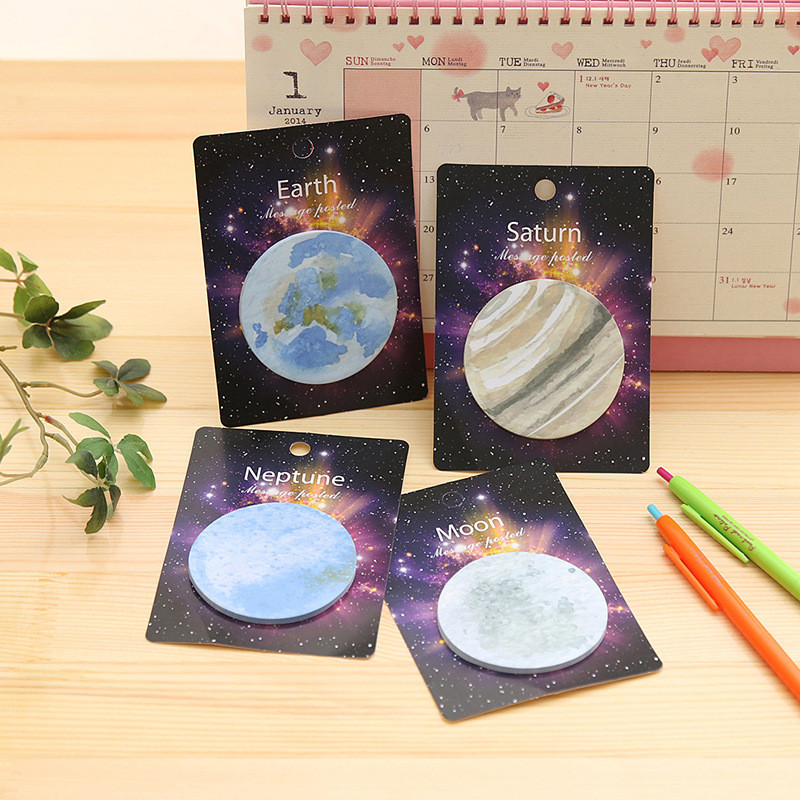 4Pcs Sky Star Planet Sticker Earth Moon Escritorio Cute Kawaii Memo Pad Round Bts Stationery Store Post it Sticky Note Papeleria