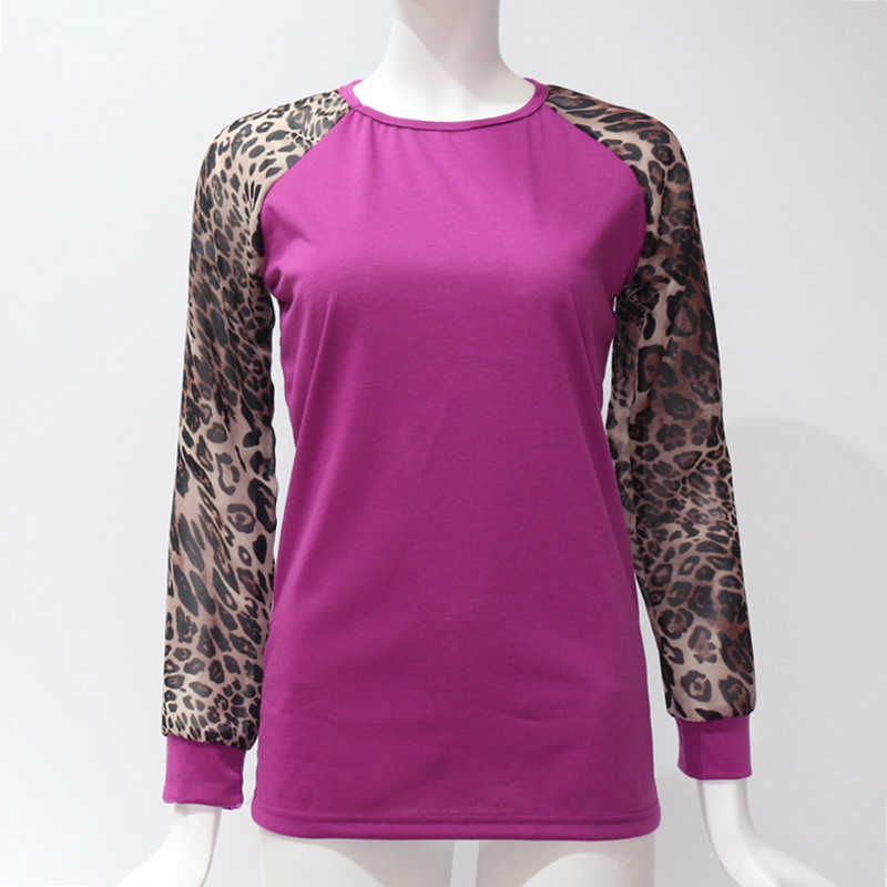ファッションカジュアル長袖シフォンヒョウブラウス女性トップ Tシャツ夏 2019 ブラウスファム女性シャツ服プラスサイズ S-5XL