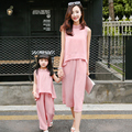 2016 Summer Matching Mother Daughter Clothes Set Dovetail Unlined Upper Garment+ Wide-legged Pants Plus Size Matching Clothing