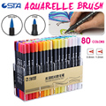 STA 80 Colors Double Head Dual Tips Watercolor Brush Marker Pen Set with Fineliner Tip for Coloring Books Drawing Highlighting