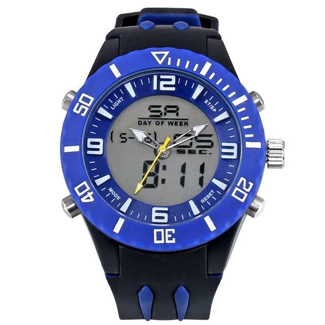 Fashion Alloy Watches Men Analog Digital Dual Display Men's Wristwatch Quartz Clock Date Waterproof Silicoe Strap montre WS1043