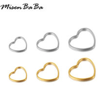 10PCS/lots Stainless Steel Small Hollow Heart Charms For Jewelry DIY Making Color Gold Love Heart Charm Pendants Accessories(China)