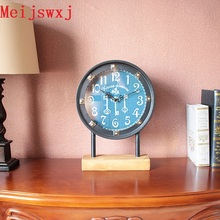 New Meijswxj Desktop Clock Saat Reloj Bracket Relogio Despertador Iron Living Room Table Clocks Masa Saati De Mesa