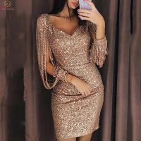 Sexy Mermaid Navy Blue Short Evening Dresses 2019 Three Quarter Sleeve V Neck Formal Party Prom Gown Bead Sequined Evening Dress