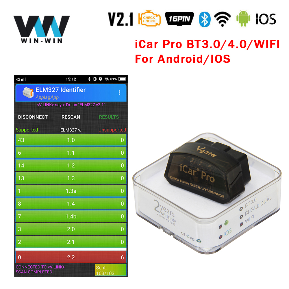 Vgate Icar WIFI OBD2 ELM327 V2.1 Support Android IOS and Windows Code Reader