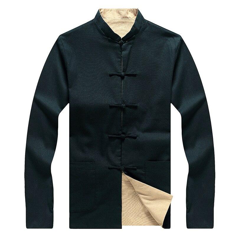 New Arrival granatowy niebieski beżowy odwracalne mężczyzna Kung Fu kurtka chińskich mężczyzn pościel bawełniana płaszcz dwustronny płaszcz rozmiar 3XL 4XL 5XL 6XL w Kurtki od Odzież męska na  Grupa 3