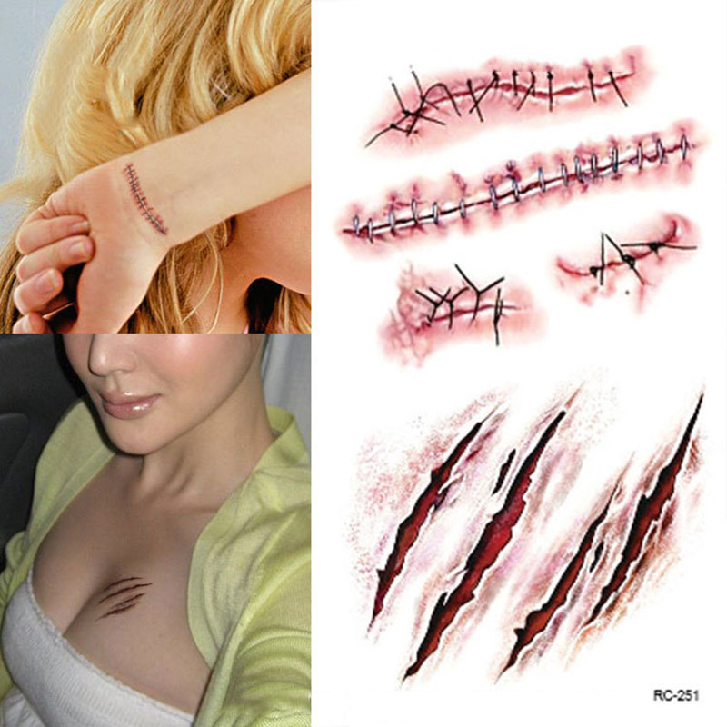 5pcs halloween horror terror realistic blood injury wound fake scar tattoo waterproof temporary tattoo stickers ss - Halloween Fake Wounds