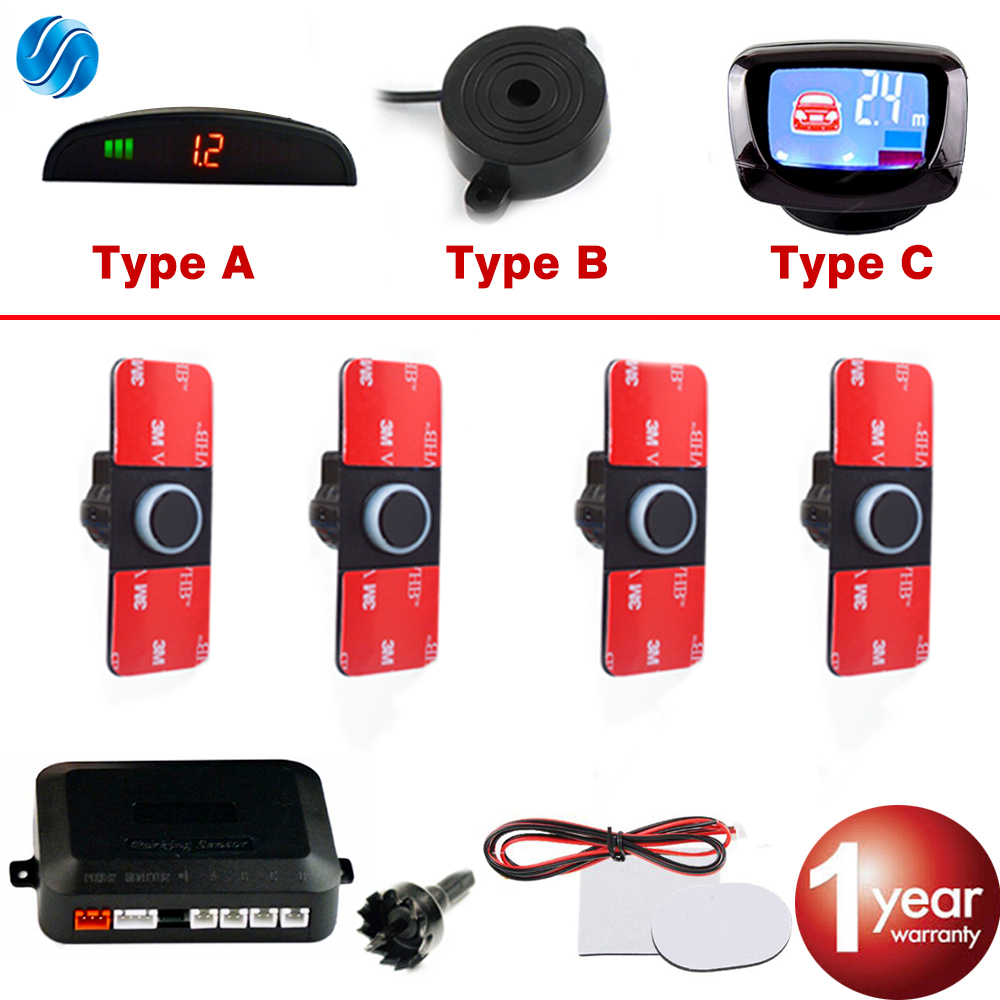 SINOVCLE Car-Parking-Sensor-Set Radar-Monitor-System Backup Lcd/buzzer 4-Flat-Reverse-Display