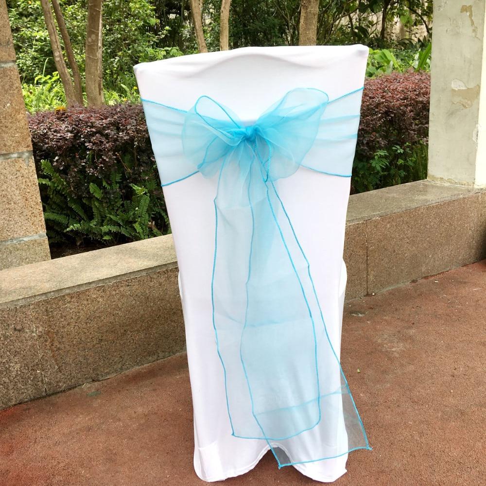 Novo 2017 Gua Azul Turquesa 100 Pcs Faixas De Cadeira De Organza  -> Cadeiras Acrilico Azul Turquesa
