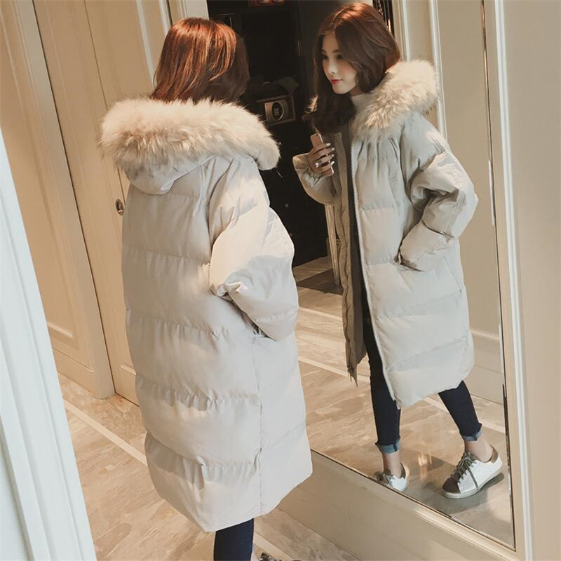 De À Fourrure Parkas Noir Épaississement Coton Chaud Taille Capuchon 2018 kaki Long Col Femme Hiver Outwear Femmes New Manteau Rembourré Solide Grande aS4BqAf