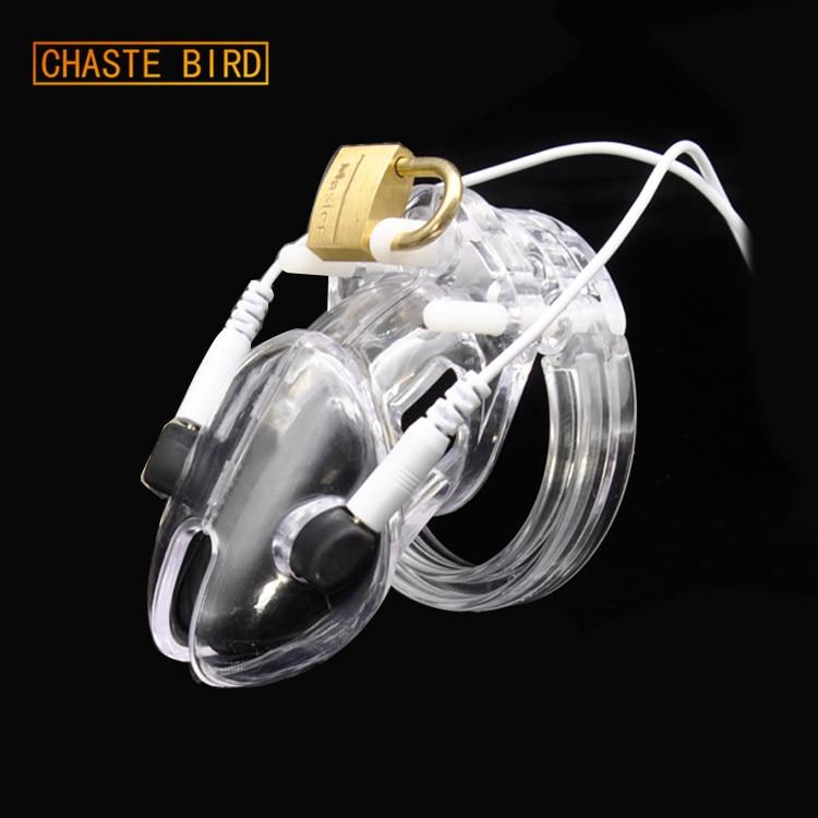 Bescheiden Gefängnis Vogel Kleiner Cock Cage Electro Keuschheits (ecb) Shock Transparent Gurtschloss Kunststoff Gerät Sex Spielzeug A192