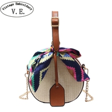 5a3550f9789 Women Straw Bag Crossbody Bags For Girls Fashion Scarves Round Saddle Bag  Rattan Woven Shoulder Messenger