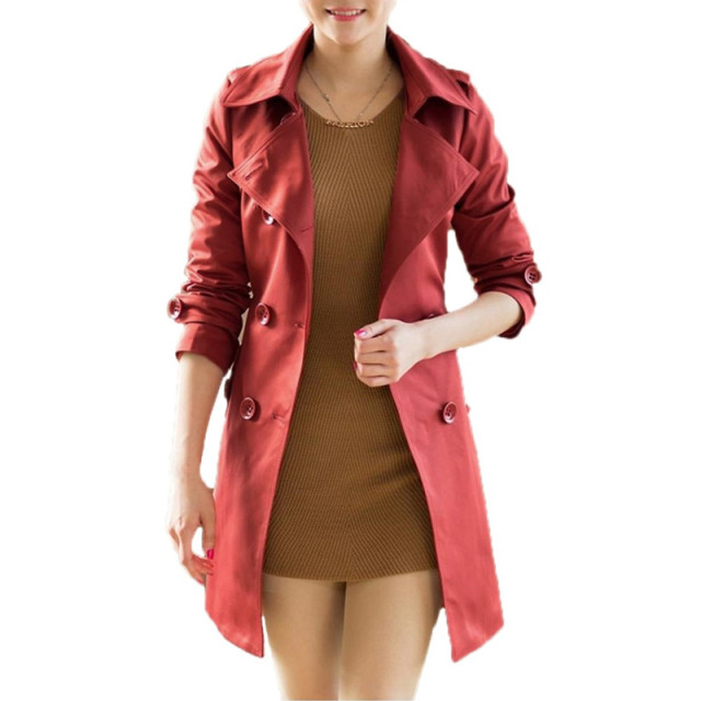 New Fashion Women Long Coat Double Breasted Belted Waist Turn-Down Collar Trench Coat Outerwear