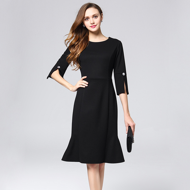 British Ladies Flounce Black Office Dress Vetement Femme 2018 ...