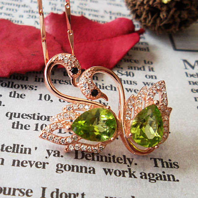 Cute swan necklace pendant solid 925 sterling silver gemstone necklace pendant pear shape natural Peridot stone pendant