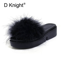 Women Wedges Heel Slides Fashion Faux Fur Sandals Summer Outside Slippers Woman Casual Platform High Heels Shoes Big Size 30 44