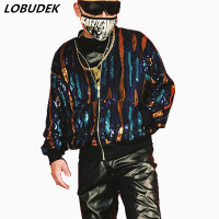 Multicolour Sequins Baseball Jacket Fashion Loose Coat Tide Male Singer Nightclub DJ DS Costume Hip Hop Rock Dancer Stage Wear