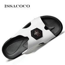 ISSACOCO Genuine Leather Woens Slippers Women Flip Flops High Quality Beach Sandals Non-slip Home Pantuflas
